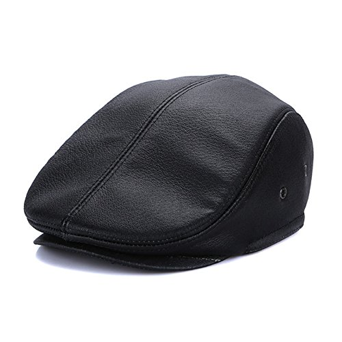 Sandy Ting Vintage Cowhide Leather Cabby Hat Newsboy Walking Driving Cap(Black,X-Large)
