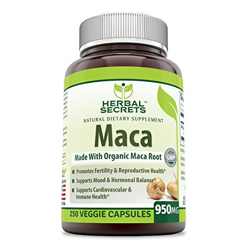 Herbal Secrets Organic Maca 950 mg, 250 Veggie Capsules (Non-GMO) – Gelatinized for Enhanced Bioavailability – Supports Healthy Mood, Hormonal Balance, Cardiovascular Health & Immune Health*