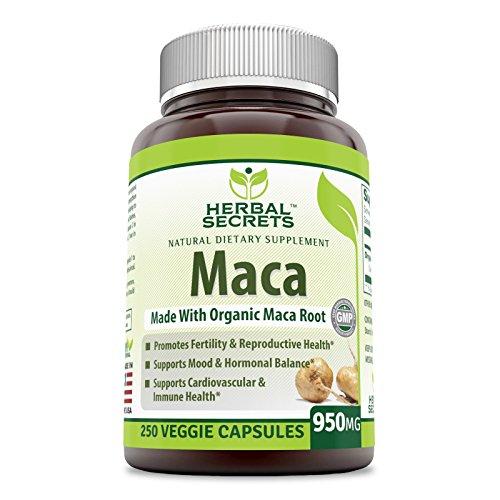 Herbal Secrets Organic Maca - 950mg, 250 VCAPS - Gelatinized for Enhanced Bioavailability - GMO Free- Supports Healthy Mood, Hormonal Balance, Cardiovascular Health & Immune Health