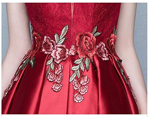 Escotado Vino Plisada Manga Flower Lace Detrás emily Por Cap Beauty Vestidos Rojo Cortos PaZ8W5n