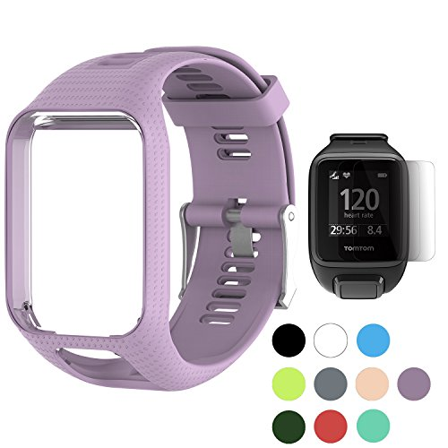 TUSITA WristBand for TomTom Runner 2 3/Spark/Spark 3/Golfer 2/Adventurer, Replacement Silicone Band Strap Accessory (Purple)