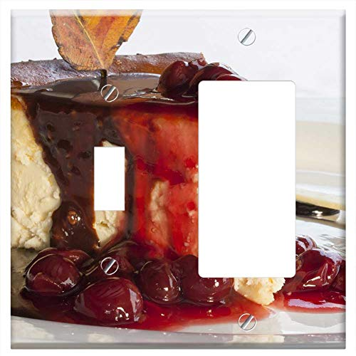 - 1-Toggle 1-Rocker/GFCI Combination Wall Plate Cover - Cake Cherry Red Sweet Cheese Cake Strawberry