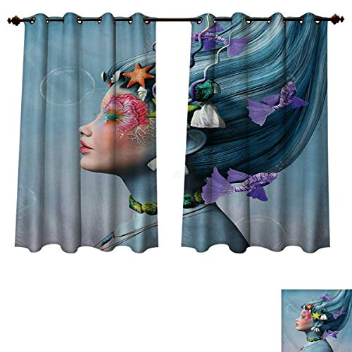 Mermaid Blackout Thermal Backed Curtains for Living Room Woman with Underwater Themed Make Up Hairstyle Starfishes Seashells Fishes Bubbles Customized Curtains Multicolor W55 x L45 inch -