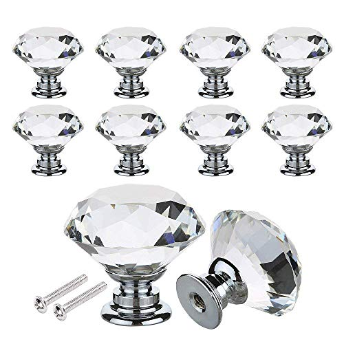 Cabinet Pulls - 16pcs Crystal Glass Door Knobs Clear Pull Handle Zinc Alloy With Screw Furniture Home Decorating - Square Tree Pewter Knobs Decorative Handles Dark Porcelain Gunmetal Shaped Ce