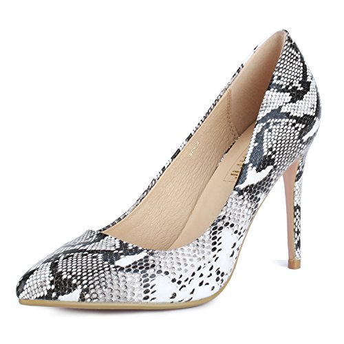 IDIFU Women's IN4 Classic Pointed Toe Stiletto High Heel Dress Pump (Snake White, 7 B(M) US)