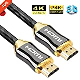 HDMI Cable 5ft - HDMI 2.0(4K@60Hz) Ready - 28AWG Braided Cord - High Speed 18Gbps - Gold Plated Connectors - Ethernet, Audio Return - Video 4K 2160P HD 1080P 3D for Xbox PlayStation PS3 PS4 PC TV