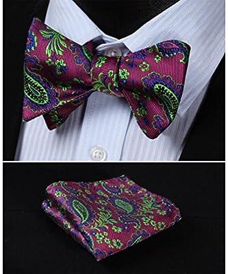 SetSense Men's Paisley Jacquard Woven Self Bow Tie Set