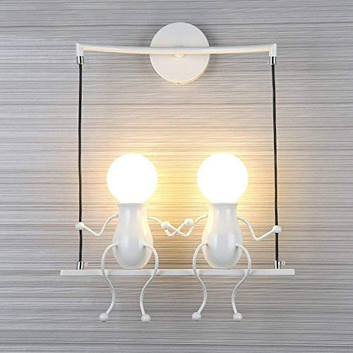 TZZ Creative Wall Lamp Industrial Retro Wall Light Wall Lamp Holder Iron Art Deco E27 Base for Bar, Bedroom, Kitchen, Restaurant, Cafe, Corridor Wall lamp Interior LED (Color : White) ()