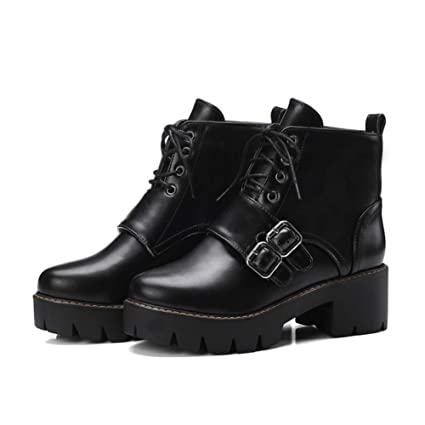 571f821a8ee7 Image Unavailable. Image not available for. Color  Wilbur Gold Rock Gothic  Motorycle Ankle Boots Women Buckle Chunky Block High Heels Martin ...