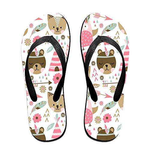 Unisex Roze Dieren Patroon Zomer Riem Slippers Strand Slippers Platforms Sandaal Voor Mannen Vrouwen Zwart