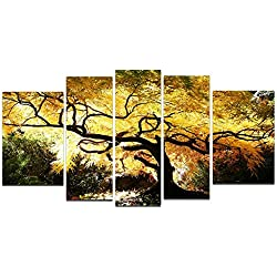 Startonight Glass Wall Art Acrylic Decor Canadian Maple, and a Contemporary Clock Set of 5 Total 35.43 X 70.87 Inch 100% Original Nature Artwork the Ultimate Wall Art