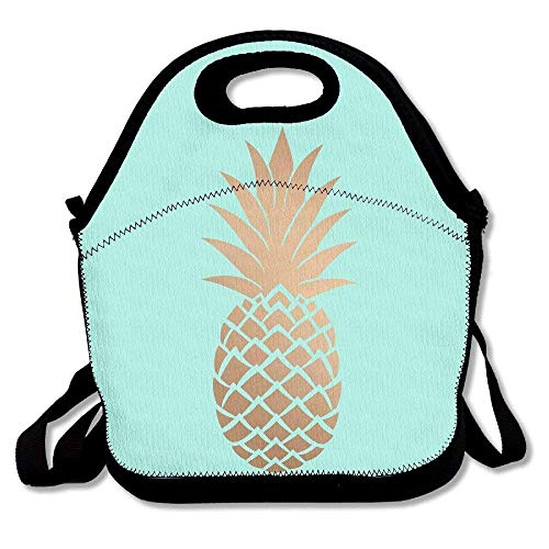 Gold Pineapple Mint Green Lunch Bag Insulated Tote Handbag Lunchbox Food Container Gourmet Tote Cooler Warm Pouch With Shoulder Strap For Women Teens Girls Kids ()