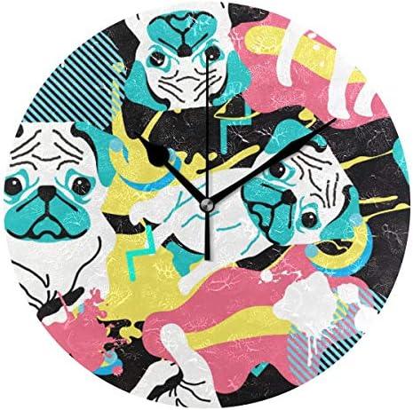 UKIO 掛け時計 置き時計 壁掛け時計 犬柄 アニメ カラフル 部屋装飾 壁時計 インテリア おしゃれ かわいい アート 部屋 ウォールクロック 円型