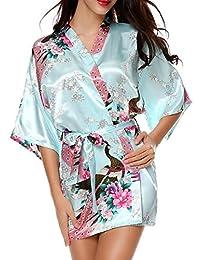 Peacock Satin Kimono Robe Bridesmaid Robes / Wedding Robe/ Bride Robe Sleepwear