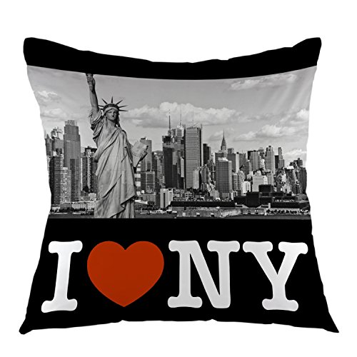 (oFloral New York Throw Pillow case I Love NY with Statue of Liberty Square Cushion Cover for Sofa Bed Chair Couch Home Decorative 18 x 18 inch Black)