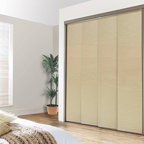 Chicology Double Rail Track Privacy Fabric Adjustable Sliding Panel, Cordless Shade, 80