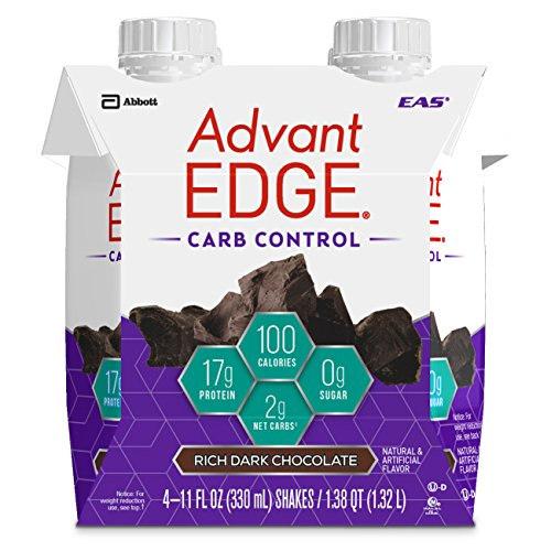 EAS AdvantEDGE Carb Control Ready-to-Drink Protein Shake, 17 grams of Protein, Rich Dark Chocolate, 4 Count (Packaging May Vary) by EAS AdvantEdge