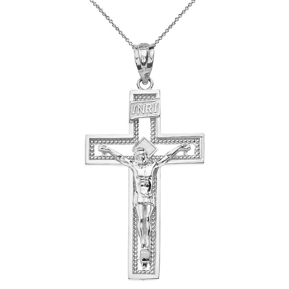 14k White Gold INRI Crucifix Cross Catholic Jesus Pendant Necklace