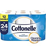 Cottonelle Ultra CleanCare Toilet Paper, Strong Biodegradable Bath Tissue, Septic-Safe, 12 Double Rolls