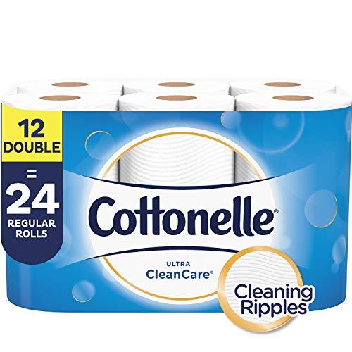 Cottonelle Ultra CleanCare Toilet Paper, Strong Bath Tissue, 12 Double Rolls (Cottonelle Double Paper Roll Toilet)