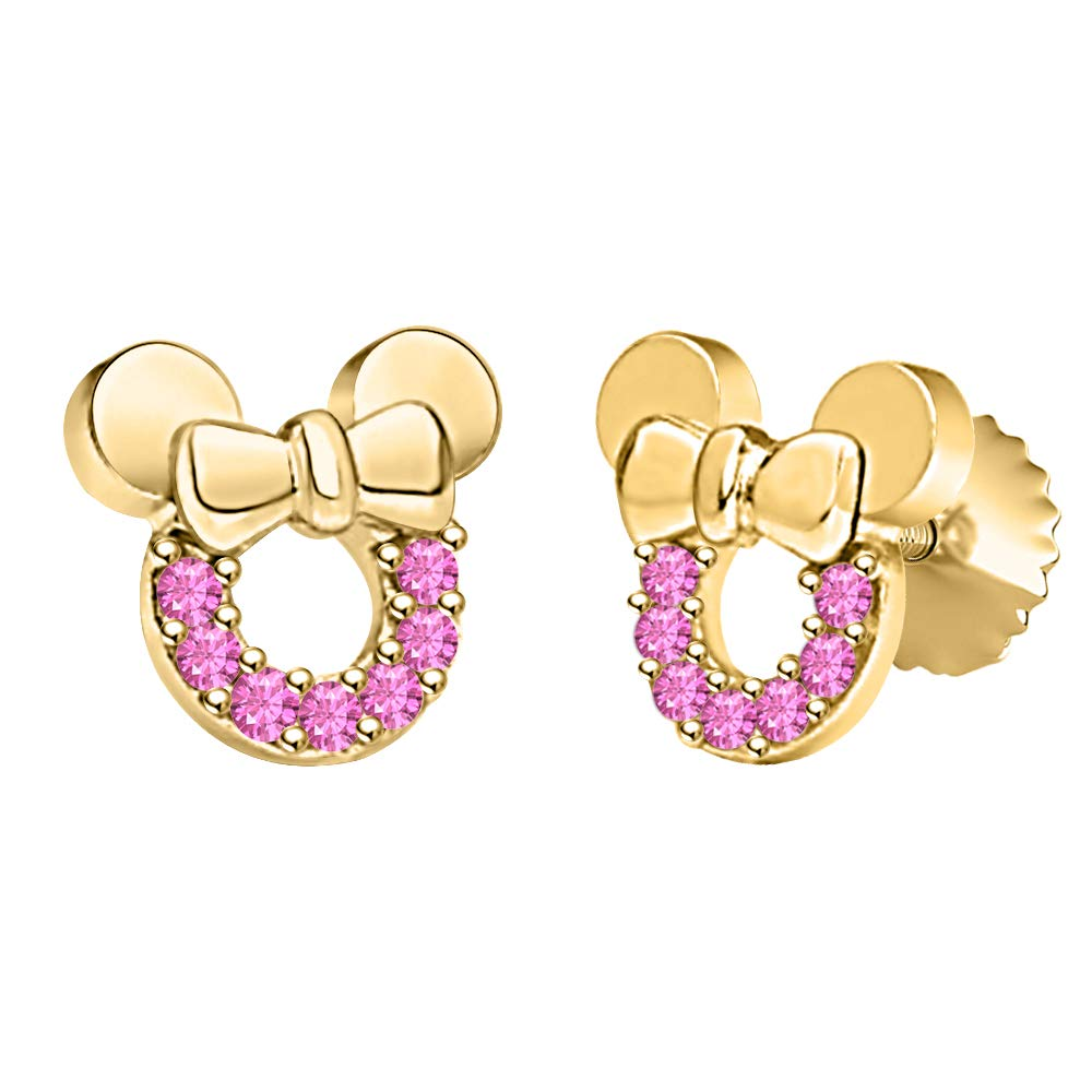 Mickey Minnie Bow Earrings Gemstone 14k Yellow Gold Over .925 Sterling Silver For Girls