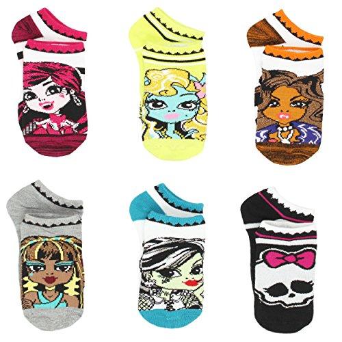 Monster High Little Girls 6 pack Socks (6-8 (Shoe: 10.5-4), Doll Multi) (Clothing For Girls Monster High)