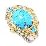 Michael Valitutti Palladium Silver Spiderweb Turquoise & Neon Apatite Ring