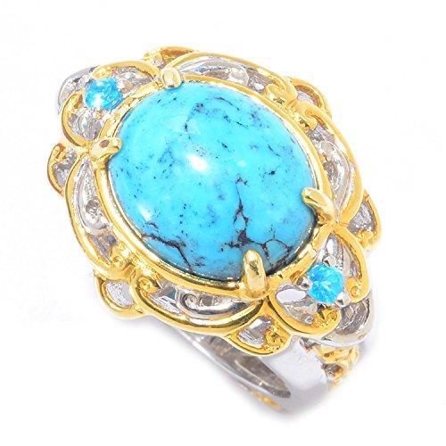 Michael Valitutti Palladium Silver Spiderweb Turquoise & Neon Apatite Ring by Michael Valitutti