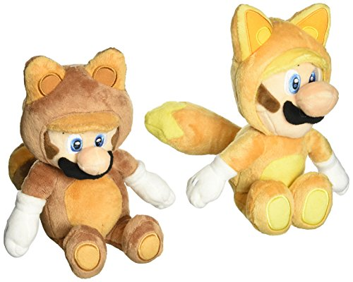 Little Buddy Set of 2 Super Mario Plush Doll - Kitsune Fox Luigi & Raccoon Tanooki Mario ()