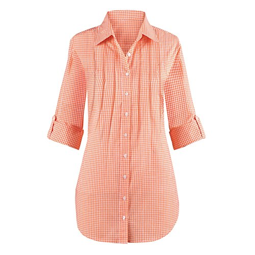 Womens Gingham Pintuck Button Tunic