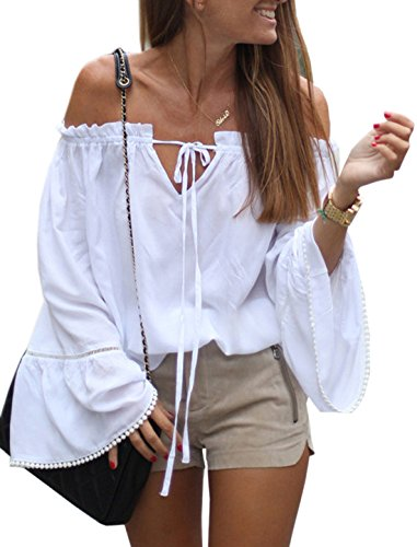 Relipop Women's Backless Off Shoulder Tops Long Sleeve Shirt Strapless Blouses (Medium, White) Off Shoulder Boho Top Shirt