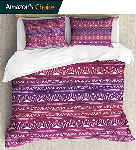 (Tribal 3D Bedding Quilt Set,Geometric Pattern with Motifs and Ombre Backdrop Primitive Culture Doodle Art Reversible Coverlet,Bedspread,Gifts for Girls Women 87