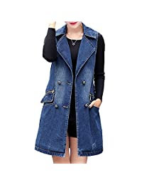 Aishang Womens Classic Vest Loose Sleeveless Button Jean Denim Long Jacket