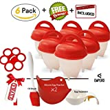Egg cooker hard and soft silicone egg poachers, hard boiled eggs without shell egglettes egg cups AS SEEN ON TV (6 pieces) No shell plus bonus gift by Empeiro