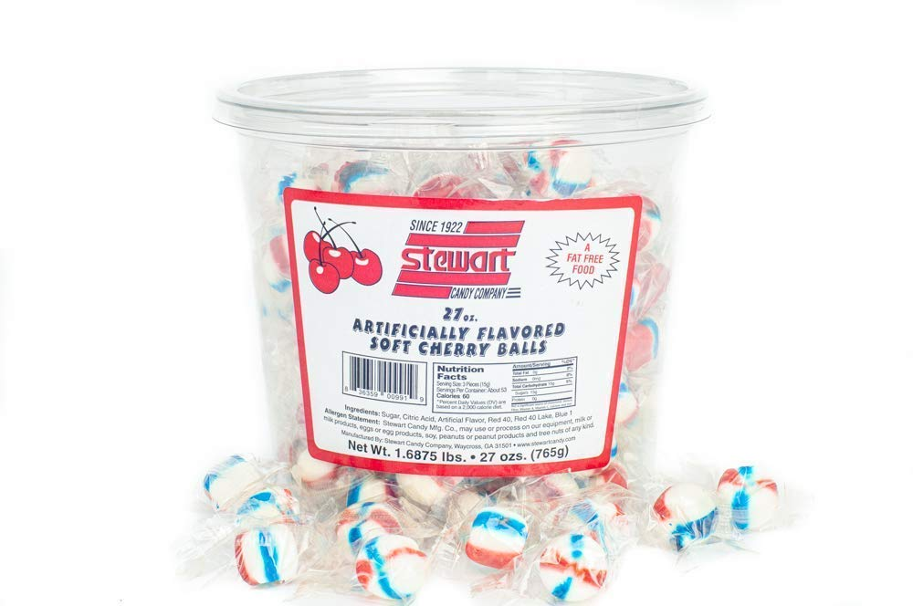 Stewart Candy Cherry Flavored Soft Candy Puff Balls - 27oz Tub for Home, Office, Break Rooms - Individually Wrapped Candy Snack, Fat-Free, Cholesterol-Free, Gluten-Free, & Kosher, Made in the USA