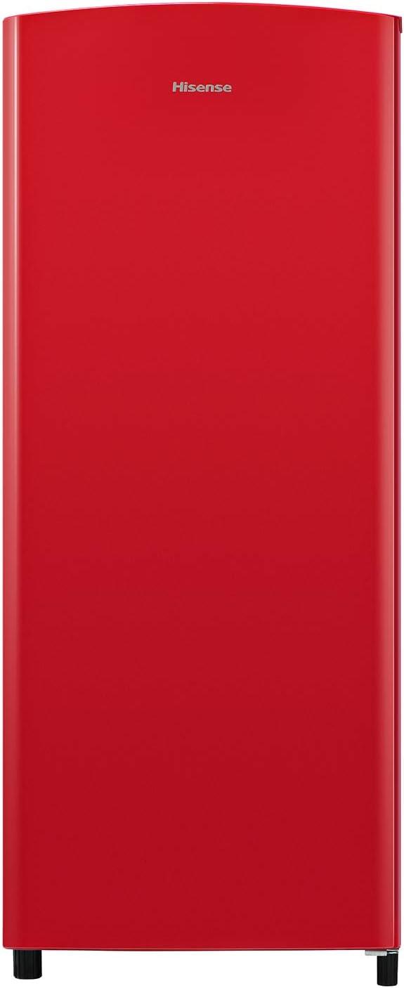 Hisense RR220D4AR2 - Frigorífico una puerta, clase A++, botellero cromado, estantes XXL, 164 l de capacidad neta, 128 cm alto, silencioso 40dB, color rojo