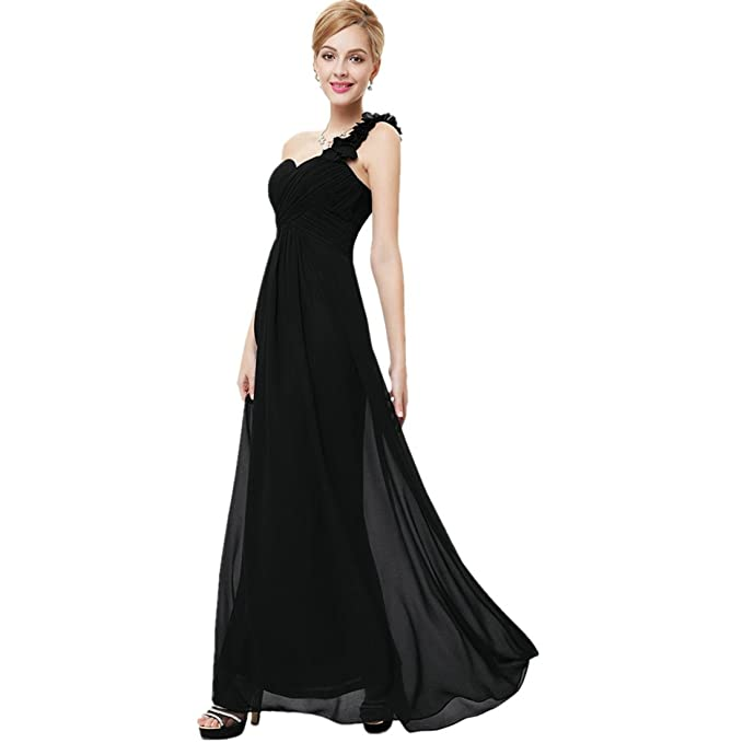 71eee181340f HAWEE Women's Flower One Shoulder Long Bridesmaid Dress Chiffon Plaza Gown  for Evening Party, Black