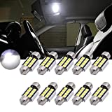 "TUINCYN Extremely Bright 1.25"" 31MM Canbus Error Free Festoon LED Bulb 6000K Xenon White 5630-8SMD DE3175 DE3021 DE3022 6428 7065 Car Interior Door Map Dome LED Lights 12V (Pack of 10)"