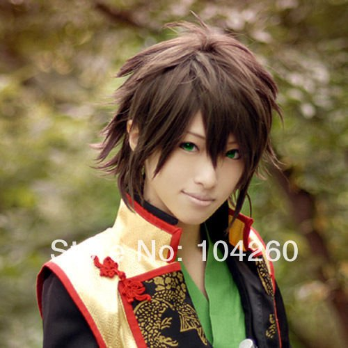 [Smile Japan Anime Hakuouki Okita Souji Brown Cosplay Costume Wig+ Free Wig Cap] (Okita Souji Cosplay Costume)
