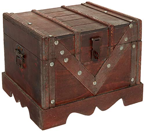 Vintiquewise QI003027.S Small Wooden Box, Old Style Treasure Chest