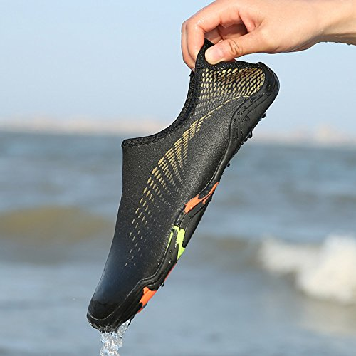 GESIMEI Mens Womens Lightweight Water Shoes Quick Dry Aqua Shoes Slip-on Barefoot Shoes for Walking Running Yoga Swimming Surfing Diving Beach Boating Gold iHOmgfN