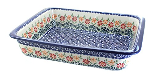 Blue Rose Polish Pottery Garden Bouquet Large Rectangular Baker ()