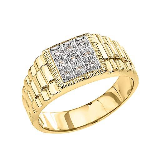 Men's Fine 10k Yellow Gold Diamond Square Watch Band (Size 10) ()