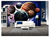 wall26 - High Resolution Images Presents Planets of the Solar System. - Removable Wall Mural | Self-adhesive Large Wallpaper - 66x96 inches