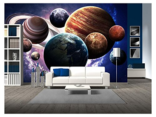 wall26 - High Resolution Images Presents Planets of the Solar System. - Removable Wall Mural | Self-adhesive Large Wallpaper - 66x96 inches by wall26