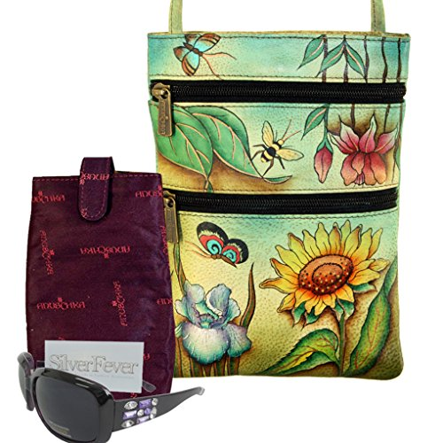 Anuschka Two Zipper Travel Crossbody Purse Hand Painted Real Leather - Sunglasses & (Hand Painted Leather Bags)
