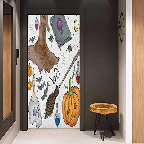 Front Door Sticker Halloween Magic Spells Witch Craft Objects Doodle Style Illustration Grunge Design Skull for Home Decor W38.5 x H77 Multicolor ()