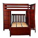 Plank & Beam Combo Loft Bed + Dresser + Desk over Twin Bed, Cherry