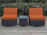 Ohana 3-Piece Outdoor Wicker Patio Furniture Balcony Bistro Set, Orange (PN3005OR)