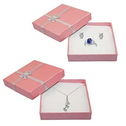 Jjonlinestore Luxury Jewellery Gift Boxes Box For Pendant Bracelet Earring Necklace Ring Shop Home Birthday Xmas Presents 6 X Large Pink
